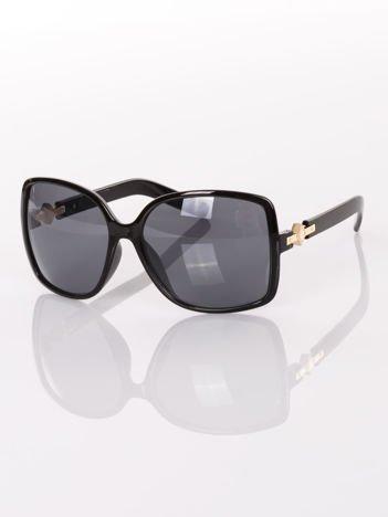 """Duże czarne okulary przeciwsłoneczne  """" MUCHY """"ze złotymi zdobieniami na zausznikach"""