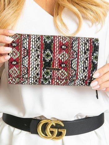 Duży portfel skórzany w etniczne wzory