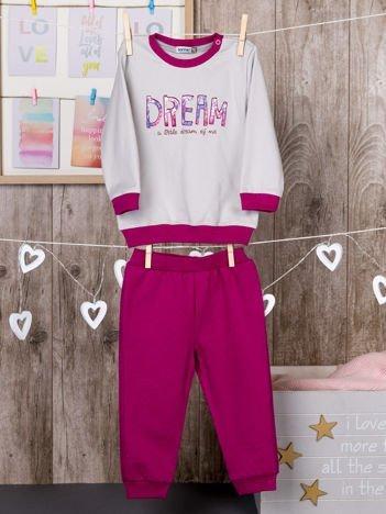 Dwuczęściowa bawełniana ocieplana piżamka dla dziewczynki szaro-różowa