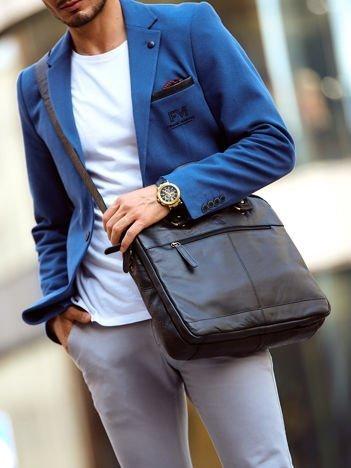 Dwukomorowa skórzana torba męska na ramię czarna