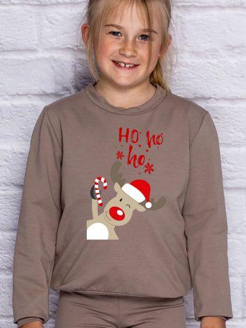 Dziecięca świąteczna bluza z reniferem i napisem HO HO HO kawowa