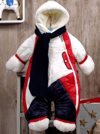 Dziecięcy kombinezon zimowy ocieplany futerkiem ecru