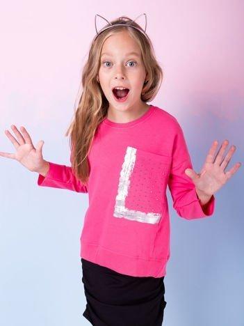 Dziewczęca ciemnoróżowa bluza z kieszenią i dżetami