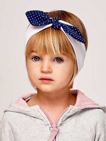 Dziewczęca opaska do włosów z kokardą w kropki biała