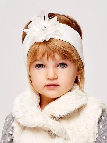 Dziewczęca opaska do włosów z tiulowym kwiatem ecru