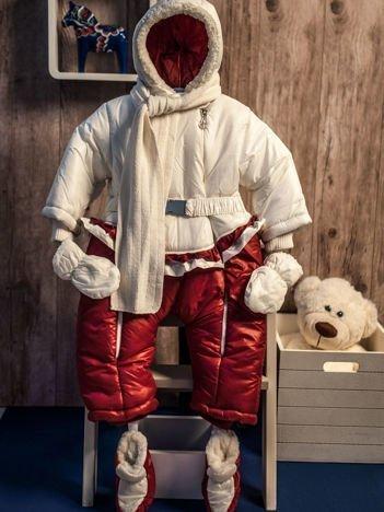 Dziewczęcy kombinezon zimowy jednoczęściowy na futerku bordowo-biały