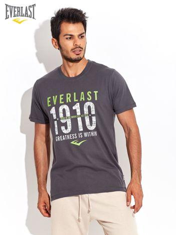 EVERLAST Ciemnoszary t-shirt męski z tekstowym motywem