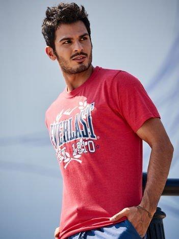 EVERLAST Czerwony t-shirt męski z nadrukiem
