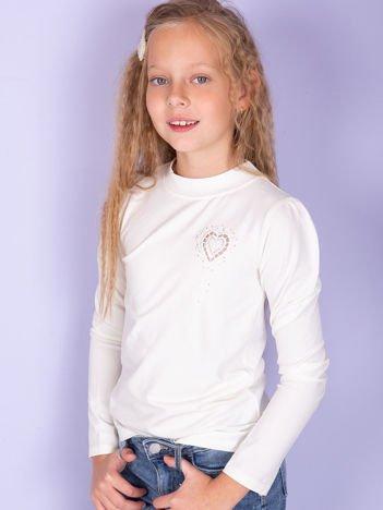 Ecru bawełniana bluzka dziewczęca z haftem
