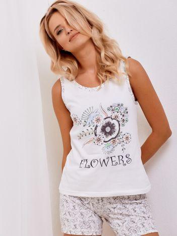 Ecru bawełniany komplet piżamowy w kwiatki i groszki