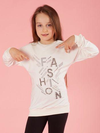 Ecru bluza dziewczęca z aplikacjami