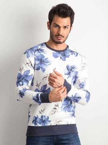 Ecru bluza męska w kwiaty