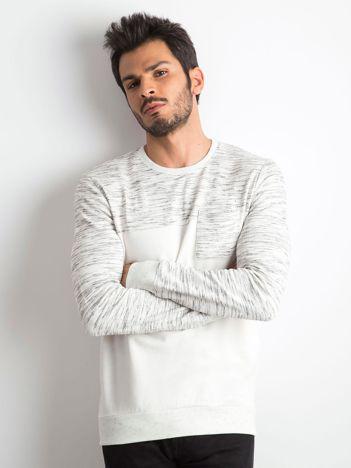Ecru bluza męska z kieszonką
