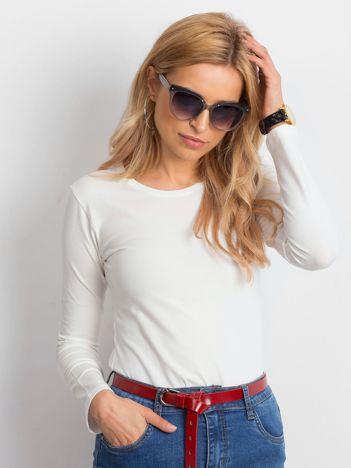 Ecru bluzka basic z długim rękawem