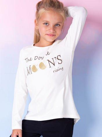 Ecru bluzka dla dziewczynki z tekstowym nadrukiem