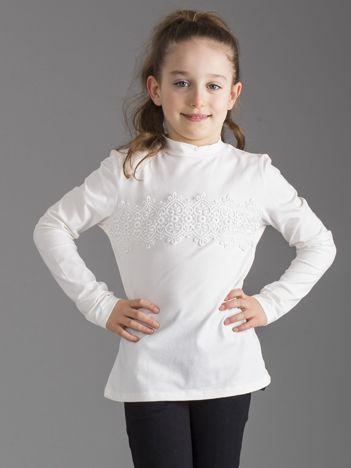 Ecru bluzka dziewczęca z koronkową wstawką