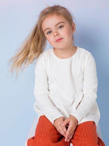Ecru bluzka dziewczęca z koronkowymi wstawkami