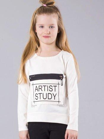 Ecru bluzka dziewczęca z nadrukiem i kieszenią