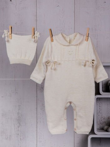 Ecru ciepły dzianinowy niemowlęcy 2-częściowy komplet dla dziewczynki pajacyk na futerku i czapeczka zimowa