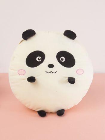 Ecru-czarna okrągła poduszka  PANDA