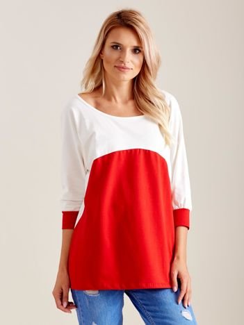 Ecru-czerwona bluzka oversize