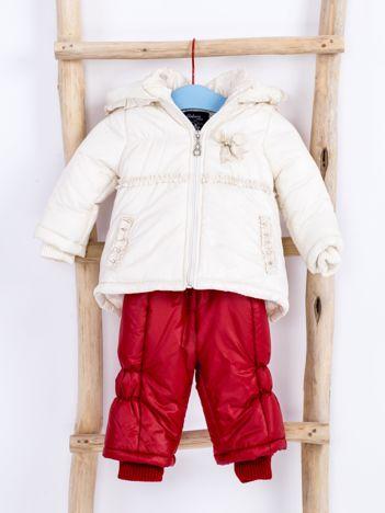 Ecru-czerwony komplet dziecięcy kurtka i kombinezon