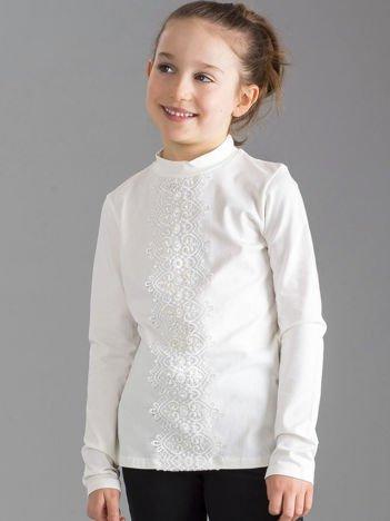 Ecru elegancka bluzka dziewczęca z koronką