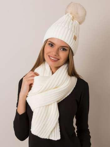 Ecru komplet damski czapka i szalik RUE PARIS