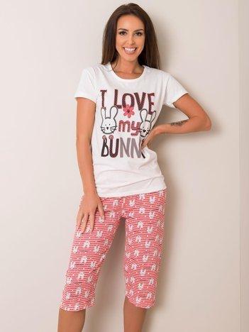Ecru-koralowa piżama z nadrukiem