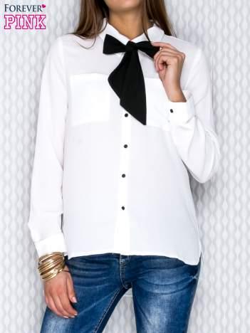 Ecru koszula ze wstążką
