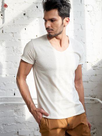 Ecru męski t-shirt z bawełny