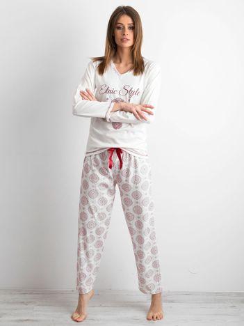 Ecru piżama z nadrukiem