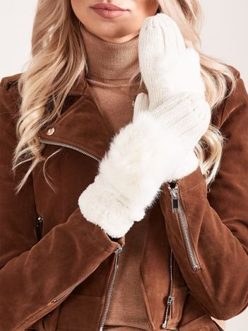 Ecru rękawiczki z futerkiem