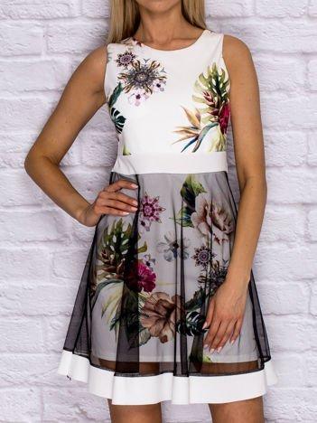 Ecru sukienka koktajlowa z tiulową warstwą