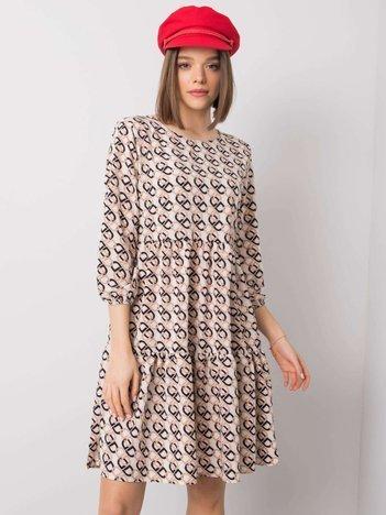 Ecru sukienka z falbaną Libby RUE PARIS