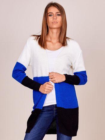 Ecru sweter tricolor bez zapięcia