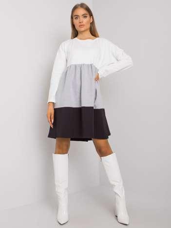 Ecru-szara bawełniana sukienka z długim rękawem Emine RUE PARIS