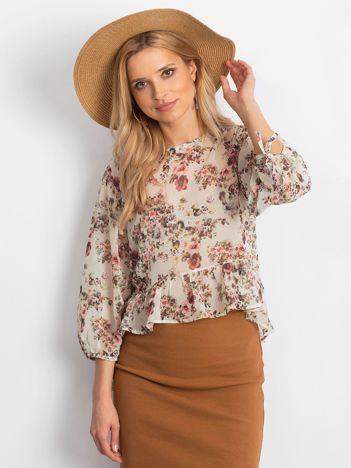Ecru szyfonowa bluzka w kwiaty