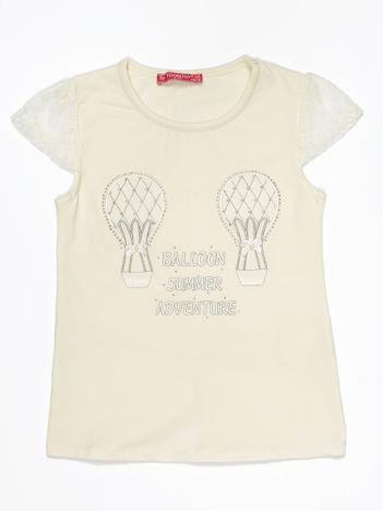 Ecru t-shirt dla dziewczynki z aplikacją z dżetów