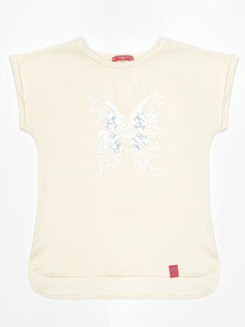 Ecru t-shirt dla dziewczynki z cekinowym motylem