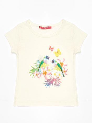 Ecru t-shirt dla dziewczynki z egzotycznym nadrukiem i cekinami