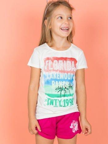 Ecru t-shirt dziecięcy z napisami
