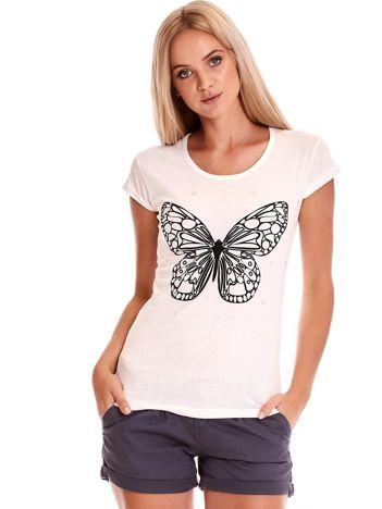 Ecru t-shirt z motylem