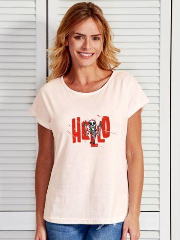 Ecru t-shirt z nadrukiem na Halloween