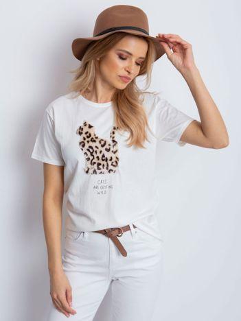 Ecru t-shirt z pluszowym kotem