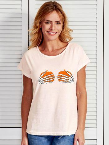 Ecru t-shirt z zabawnym nadrukiem na Halloween