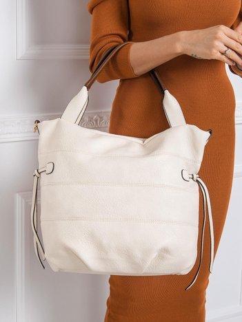 Ecru torba na ramię z ekoskóry