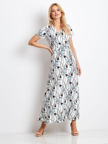 Ecru-turkusowa sukienka Printing