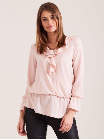 Elegancka bluzka z falbanami jasnoróżowa