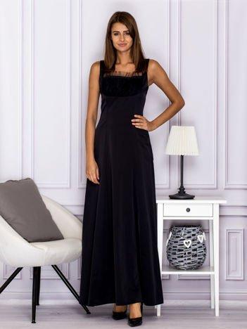 Elegancka sukienka wieczorowa maxi czarna